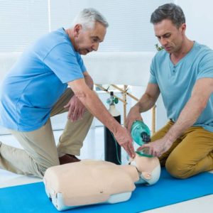 Level 3 first aid training on CPR dummy